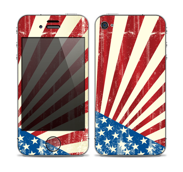 The Vintage Tan American Flag Skin for the Apple iPhone 4-4s