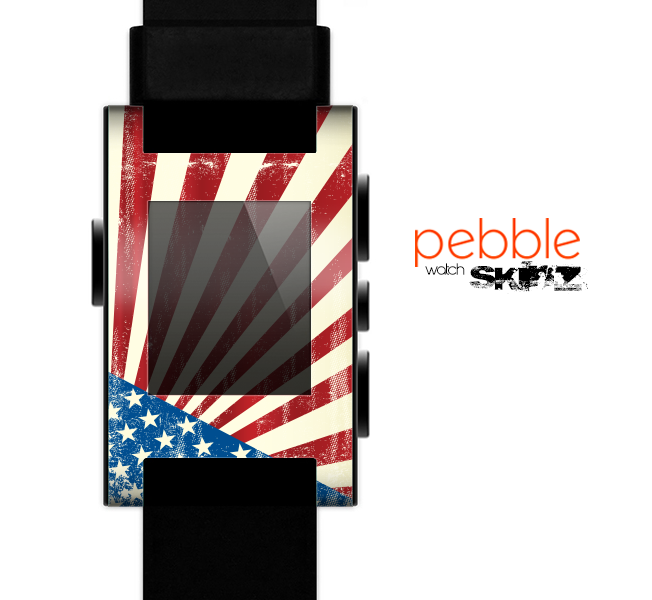 The Vintage Tan American Flag Skin for the Pebble SmartWatch