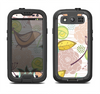 The Vintage Tan & Gold Vector Birds with Flowers Samsung Galaxy S3 LifeProof Fre Case Skin Set