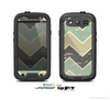 The Vintage Tan & Green Scratch Tall Chevron Skin For The Samsung Galaxy S3 LifeProof Case