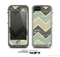 The Vintage Tan & Green Scratch Tall Chevron Skin for the Apple iPhone 5c LifeProof Case