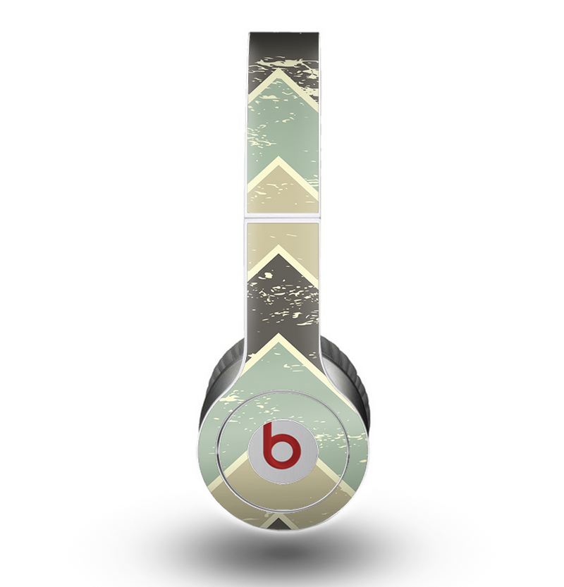 The Vintage Tan & Green Scratch Tall Chevron Skin for the Beats by Dre Original Solo-Solo HD Headphones