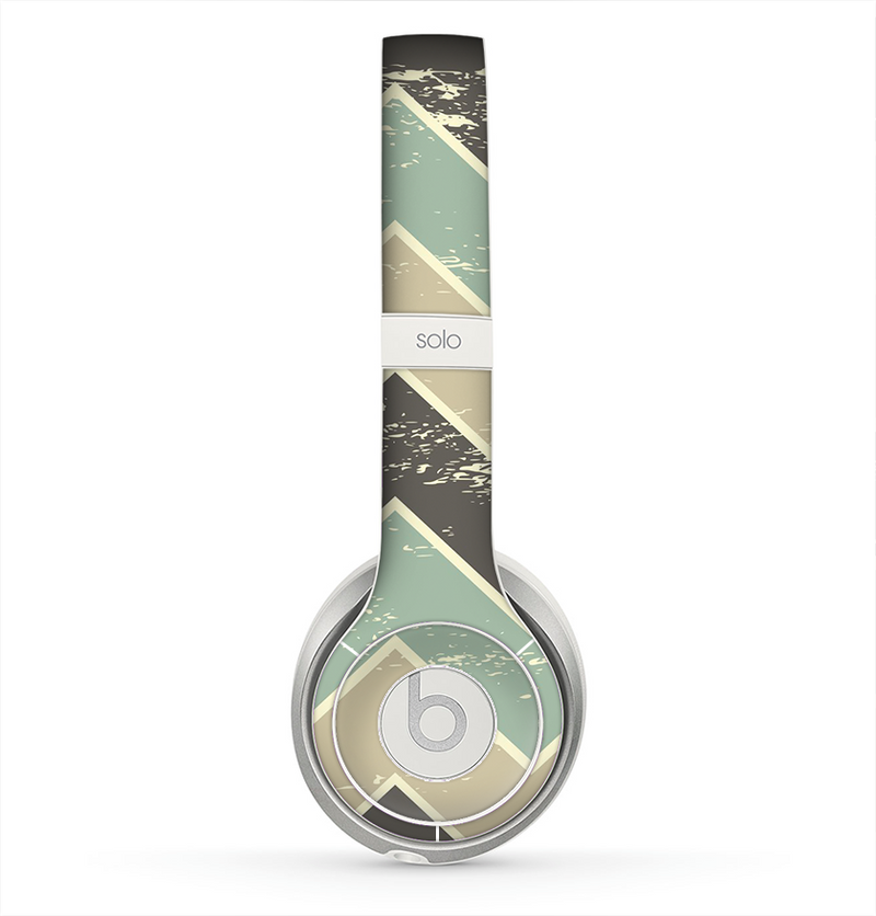 The Vintage Tan & Green Scratch Tall Chevron Skin for the Beats by Dre Solo 2 Headphones