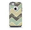 The Vintage Tan & Green Scratch Tall Chevron Skin for the iPhone 5c OtterBox Commuter Case