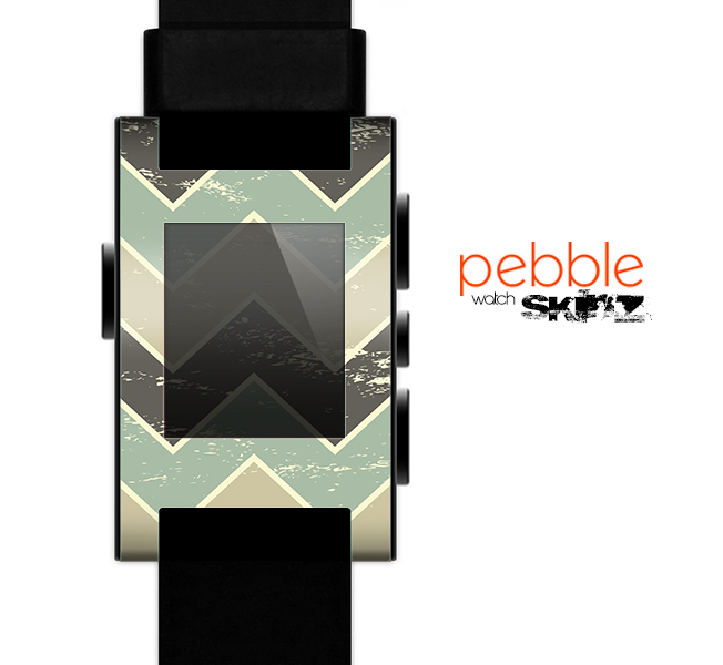 The Vintage Tan & Green Scratch Tall Chevron Skin for the Pebble SmartWatch