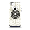 The Vintage Tan and Black Middle Piece Skin for the iPhone 5c OtterBox Commuter Case