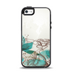 The Vintage Teal and Tan Abstract Floral Design Apple iPhone 5-5s Otterbox Symmetry Case Skin Set