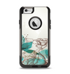 The Vintage Teal and Tan Abstract Floral Design Apple iPhone 6 Otterbox Commuter Case Skin Set