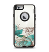 The Vintage Teal and Tan Abstract Floral Design Apple iPhone 6 Otterbox Defender Case Skin Set