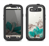 The Vintage Teal and Tan Abstract Floral Design Samsung Galaxy S3 LifeProof Fre Case Skin Set