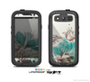 The Vintage Teal and Tan Abstract Floral Design Skin For The Samsung Galaxy S3 LifeProof Case