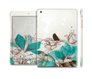 The Vintage Teal and Tan Abstract Floral Design Full Body Skin Set for the Apple iPad Mini 3