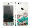 The Vintage Teal and Tan Abstract Floral Design Skin Set for the Apple iPhone 5