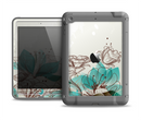 The Vintage Teal and Tan Abstract Floral Design Apple iPad Air LifeProof Fre Case Skin Set