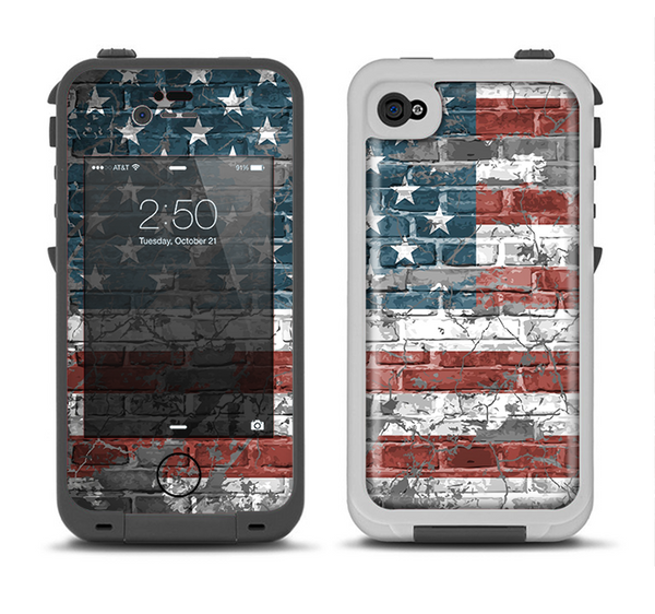 The Vintage USA Flag Apple iPhone 4-4s LifeProof Fre Case Skin Set