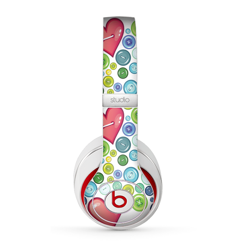 The Vintage Vector Heart Buttons Skin for the Beats by Dre Studio (2013+ Version) Headphones