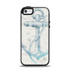 The Vintage White and Blue Anchor Illustration Apple iPhone 5-5s Otterbox Symmetry Case Skin Set