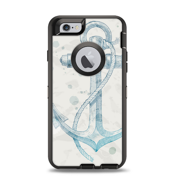 The Vintage White and Blue Anchor Illustration Apple iPhone 6 Otterbox Defender Case Skin Set