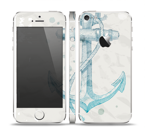 The Vintage White and Blue Anchor Illustration Skin Set for the Apple iPhone 5