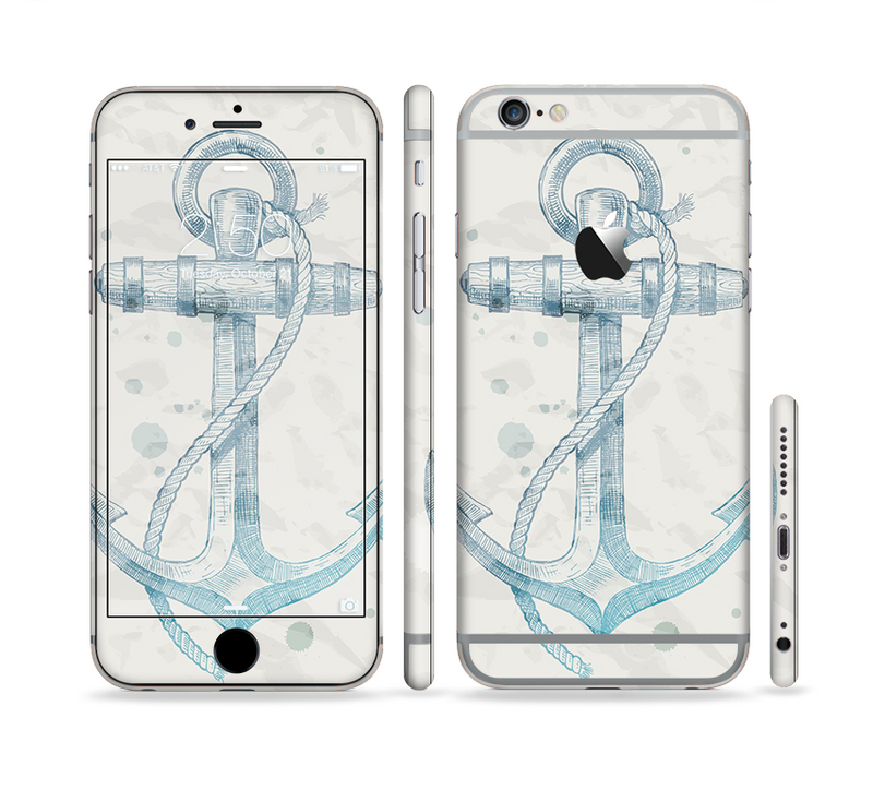 The Vintage White and Blue Anchor Illustration Sectioned Skin Series for the Apple iPhone 6