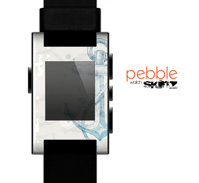 The Vintage White and Blue Anchor Illustration Skin for the Pebble SmartWatch