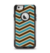 The Vintage Wide Chevron Pattern Brown & Blue Apple iPhone 6 Otterbox Commuter Case Skin Set