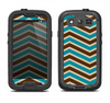 The Vintage Wide Chevron Pattern Brown & Blue Samsung Galaxy S3 LifeProof Fre Case Skin Set