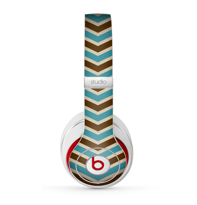 The Vintage Wide Chevron Pattern Brown & Blue Skin for the Beats by Dre Studio (2013+ Version) Headphones