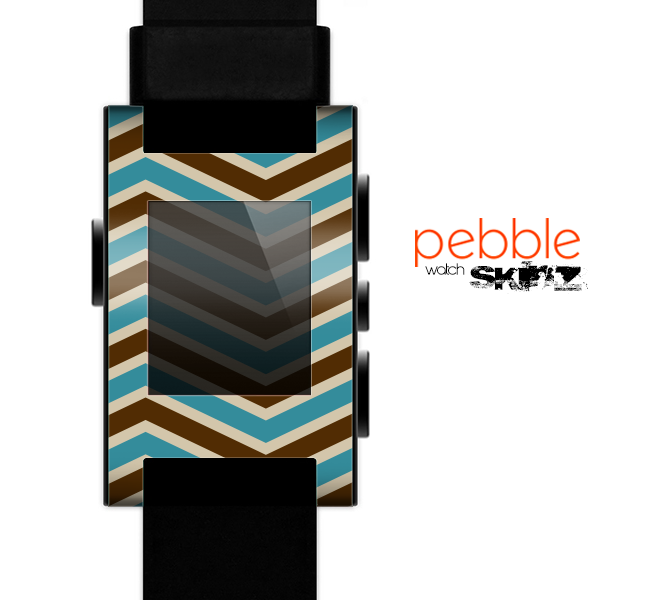 The Vintage Wide Chevron Pattern Brown & Blue Skin for the Pebble SmartWatch