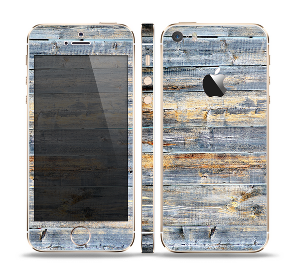 The Vintage Wooden Planks with Yellow Paint Skin Set for the Apple iPhone 5s