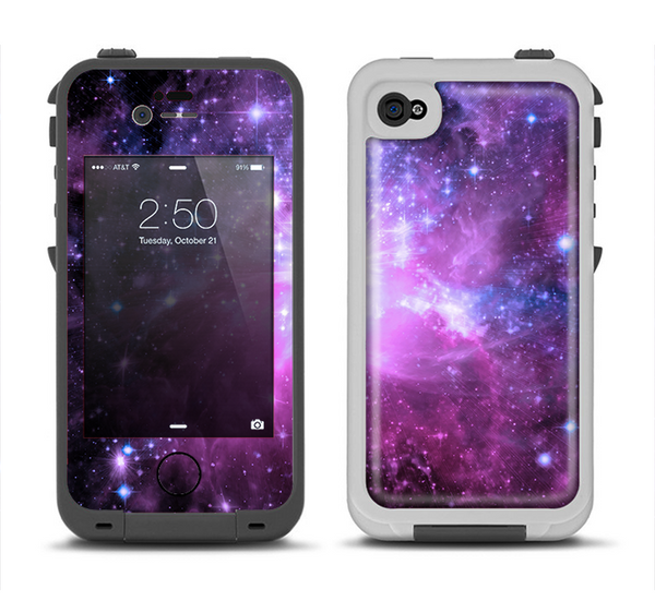 The Violet Glowing Nebula Apple iPhone 4-4s LifeProof Fre Case Skin Set