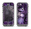 The Violet with Black Highlighted Spirals Apple iPhone 5c LifeProof Nuud Case Skin Set