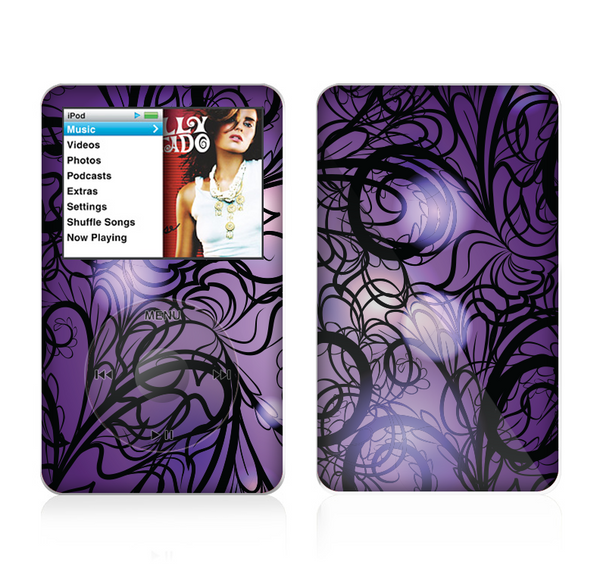 The Violet with Black Highlighted Spirals Skin For The Apple iPod Classic