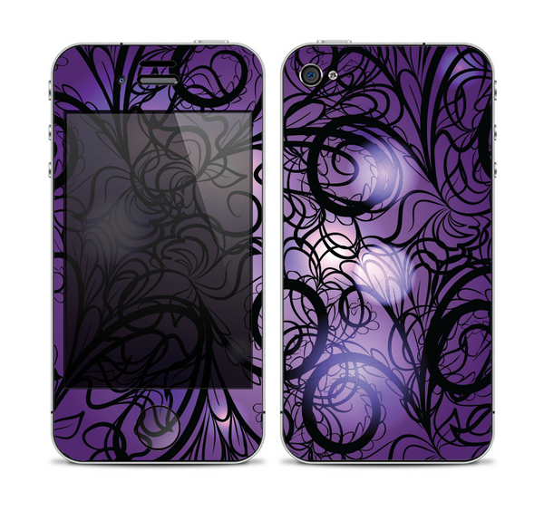 The Violet with Black Highlighted Spirals Skin for the Apple iPhone 4-4s