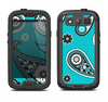 The Vivid Blue & Black Paisley Design Samsung Galaxy S3 LifeProof Fre Case Skin Set