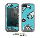 The Vivid Blue & Black Paisley Design Skin for the Apple iPhone 5c LifeProof Case