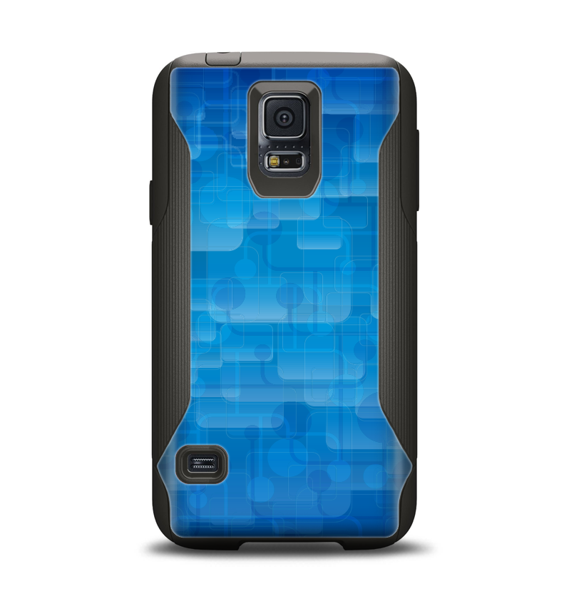The Vivid Blue Techno Lines Samsung Galaxy S5 Otterbox Commuter Case Skin Set
