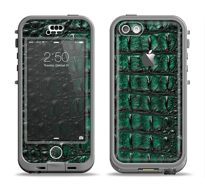 The Vivid Green Crocodile Skin Apple iPhone 5c LifeProof Nuud Case Skin Set
