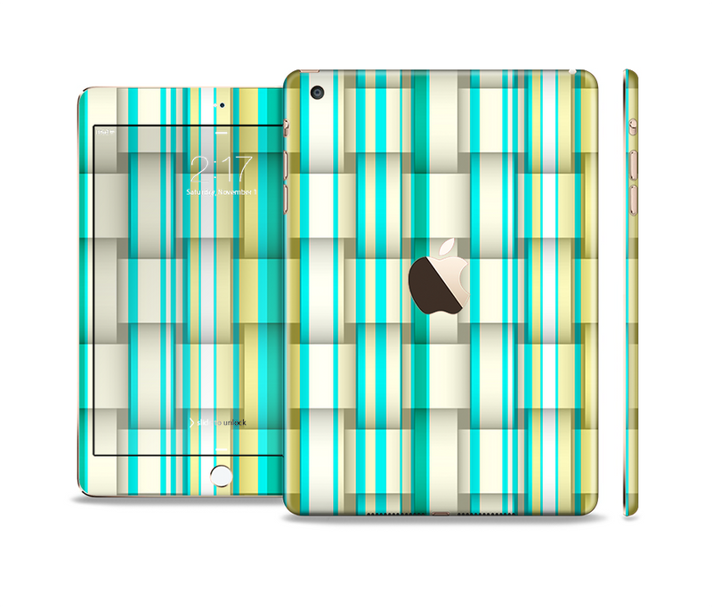 The Vivid Green and Yellow Woven Pattern Full Body Skin Set for the Apple iPad Mini 3