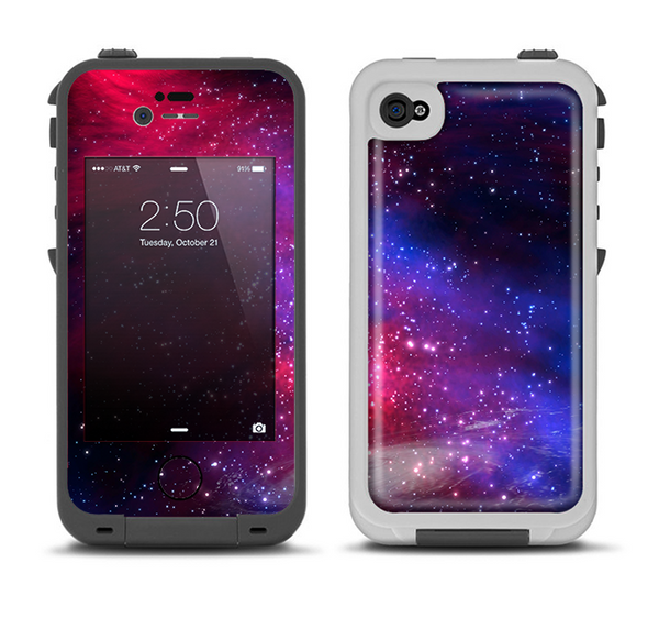 The Vivid Pink Galaxy Lights Apple iPhone 4-4s LifeProof Fre Case Skin Set
