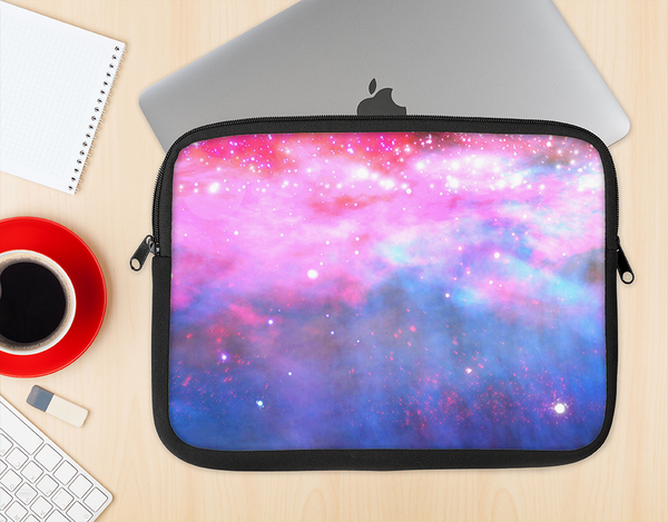 The Vivid Pink and Blue Space Ink-Fuzed NeoPrene MacBook Laptop Sleeve