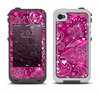 The Vivid Pink and White Paisley Birds Apple iPhone 4-4s LifeProof Fre Case Skin Set