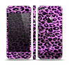 The Vivid Purple Leopard Print Skin Set for the Apple iPhone 5