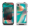 The Vivid Turquoise 3D Wave Pattern Apple iPhone 4-4s LifeProof Fre Case Skin Set