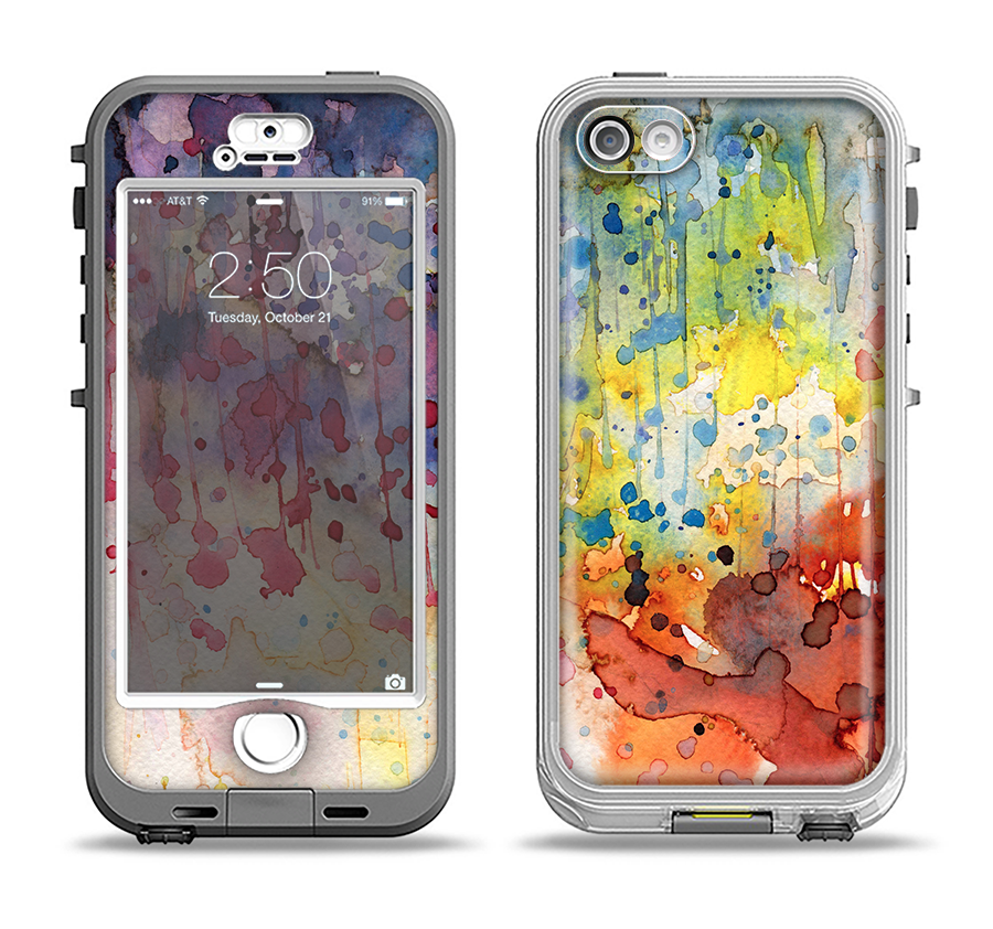 sale retailer 3a680 931b3 The WaterColor Grunge Setting Apple iPhone 5-5s LifeProof Nuud Case Skin Set