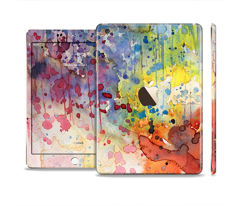 The WaterColor Grunge Setting Full Body Skin Set for the Apple iPad Mini 3