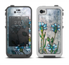 The Watercolor Blue Vintage Flowers Apple iPhone 4-4s LifeProof Fre Case Skin Set