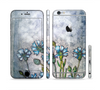 The Watercolor Blue Vintage Flowers Sectioned Skin Series for the Apple iPhone 6 Plus