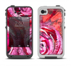 The Watercolor Bright Pink Floral Apple iPhone 4-4s LifeProof Fre Case Skin Set