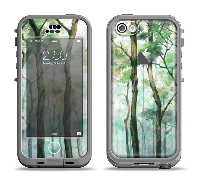 The Watercolor Glowing Sky Forrest Apple iPhone 5c LifeProof Nuud Case Skin Set